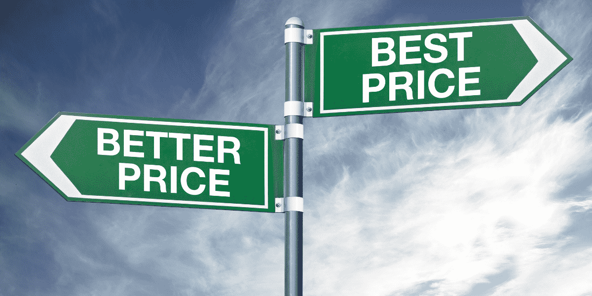 """Arrows pointing in opposite directions and read, """"Better Price, Best Price"""""""